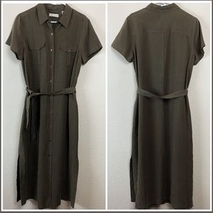 Lord & Taylor Button Down Midi Dress Olive Green